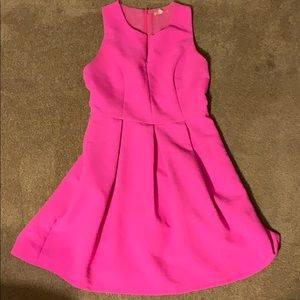 Bright pink A-Line pleated dress with front zip